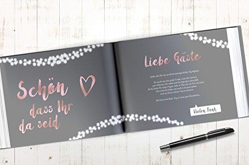 Gästebuch mit Fragen | grau, roségold