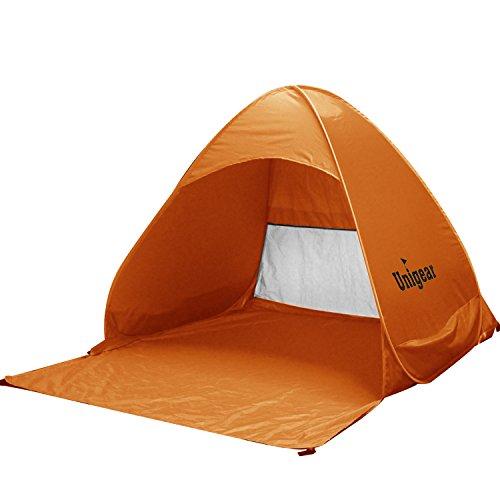 Unigear Strandmuschel Sonnenschutz Strandzelt Automatisch Pop-Up Zelt für Familie und Kinder, geeignet für Zuhause und Outdoor (Orange)