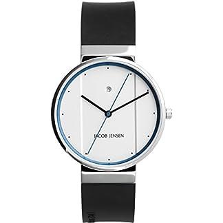 Jacob Jensen Reloj analógico para Unisex de Cuarzo con Correa en Caucho New Series Item NO. 750