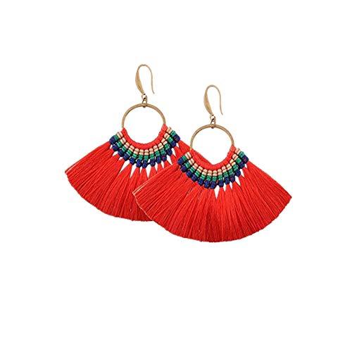 Heatnine Mode große fächerförmige Quaste Ohrringe,Orange (Rot, Einheitsgröße)