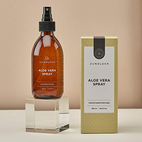 Aloe Vera Spray aus 92,3% bio Aloe Vera - vegan & in Braunglas - Feuchtigkeitspflege für gesunde & schöne Haut - Junglück natürliche & nachhaltige Kosmetik made in Germany - 250 ml