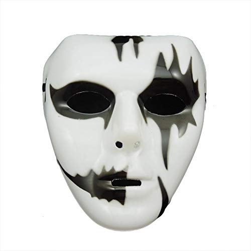 Halloween Deko Grusel Dekoration Set Halloween Hip Hop Schritt Tanz weiße Maske zufällige Farbe 1 Pack für Halloweendeko Make-up-Party Halloween Dekoration