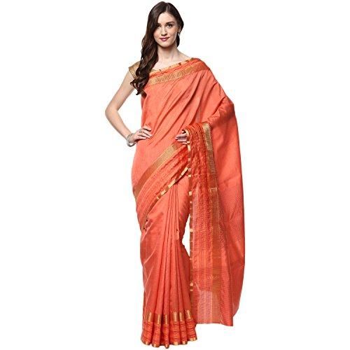 956005d74f49f Fasherati Peach Color with Silk and Zari Border Sari For Women