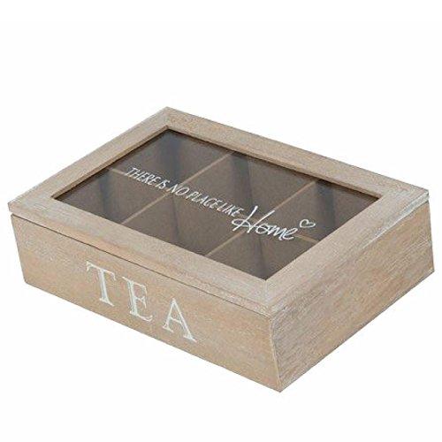 Tee-Box 6 Fächer 23 x 15,5 x 6,5cm Braun