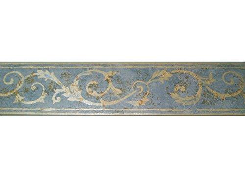 Stirnband, Rand Wände Decken Vinyl Boden blau hellblau und Damast Gelb Gold Reflexionen Transparenzen 25256