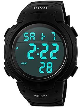 [Gesponsert]CIVO Digital Armbanduhr Herren Jungen Modisch LED Militär Chronographen Männer Sportuhr Stoppuhr Wecker Wasserdicht...