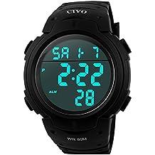 Reloj Deportivo Hombres CIVO Multifuncional Militar Números Grandes a Prueba de Agua Digital Diseño Simple Business Casual Reloj Negro