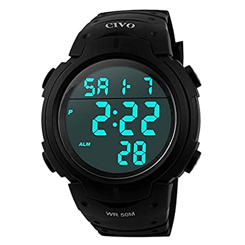 Men's Sport Watch by CIVO Multifunctional Military Waterproof Simple Design Big Numbers Digital LCD Screen (Doppio Tempo Cronografo)