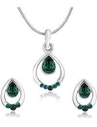 Mahi With Swarovski Crystals Green Pretty Drop Rhodium Plated Pendant Set For Women NL7204124RGre