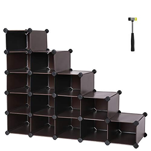 Songmics 16-cube DIY Kunststoff Schuhregal modular Regal Aufbewahrung Organizer Schrank braun ulpc44z -