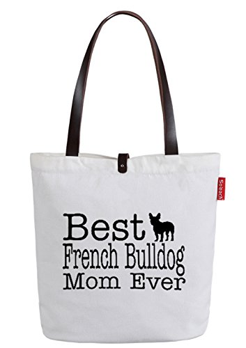 So'each Women's Best Mom Letters Top Handle Canvas Tote Shoulder Bag White