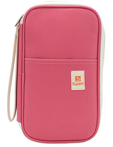 fdd67b15b iSuperb® Pasaporte Carteras bolso organizador bolsa de poliéster con correa  de mano cierre de cremallera