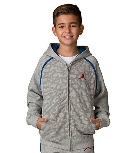 Nike Boy's Air Jordan Retro 3 Fleece Hoodie 953806-042 (Size: Large) Heather Grey/Blue/Red (Jordan Boys Air Retro 3)