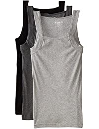 Papi Men's 3 Pack Square Cut Tank Top, Black/Charcoal/Heather Grey, X-Large