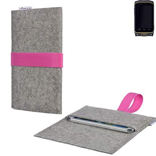 flat.design Handy Tasche Aveiro mit Filz-Deckel und Gummiband-Verschluss für Cyrus CS 19 - Sleeve Case Etui Filz Made in Germany hellgrau rosa - passgenaue Handyhülle für Cyrus CS 19