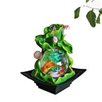ZZWBOX Indoor Fountain, Water Feature,Fountain Indoor Water Fountain for the Garden Feng Shui Indoor Ornaments Water Feature Ornaments Home Garden Decor,Green
