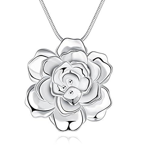 Sunifsnow femmes Large Plaqué argent romantique Rose Fleur Pendentif Collier