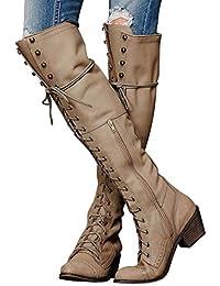 eae04efda Minetom Botines Mujer Otoño Invierno Planos Largo Botas Moda PU Cuero  Rodilla Alta Tacón Ancho Zapatos