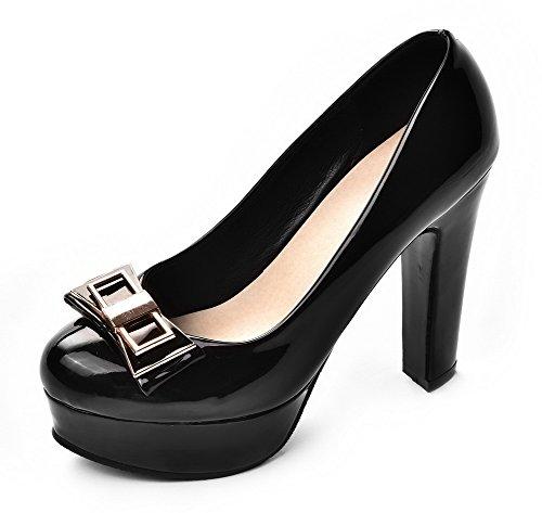 AllhqFashion Femme Tire Verni Rond à Talon Haut Couleur Unie Chaussures Légeres Noir
