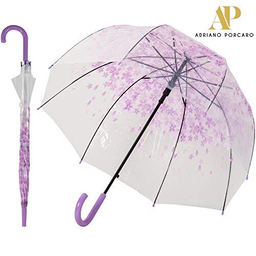ADRIANO PORCARO® Auf-Automatik Regenschirm Transparent - durchsichtig, windfest, leicht - für Hochzeit, Schule, Freizeit - Damen, Mädchen und Kinder (Lila)