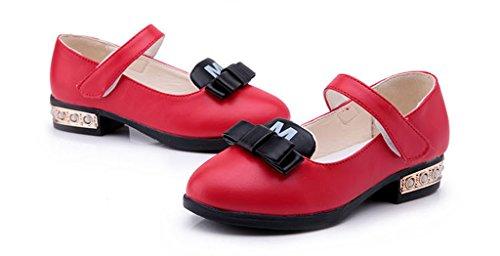 La vogue Mädchen Ballerinas Festliche Schuhe Kinderschuhe Klettverschluss Rot