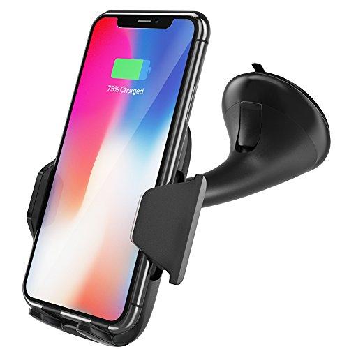 VFclar Cargador de coche inalámbrico con QI, soporte automático para teléfono del dispositivo, rotación de carga por inducción 360 °, soporte del teléfono del coche para iPhone, Samsung, etc.
