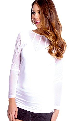 ... Pinkyee Damen Perspektive lang Ärmel Rund Hals Slim T-Shirt Pattern  Color ...