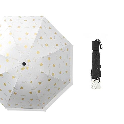 MinegRong Umbrella Four-Leaf Umbrella Sunscreen Three fold Sun Umbrella UV Protection,Four-Leaf Clover White -