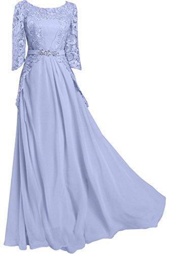 Ivydressing Damen Halb Aermel Rundkragen Chiffon&Spitze Lang Promkleid  Ballkleid Abendkleid Lila