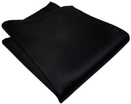 Schwarz - schönes gewebtes Einstecktuch in der Farbe Schwarz 100% Seide
