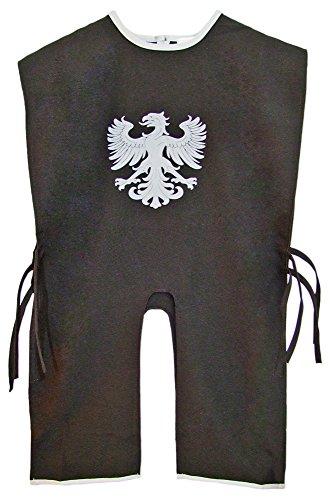 Ritter Tunika für Kinder mit Wappen Adler Schwarz Silber