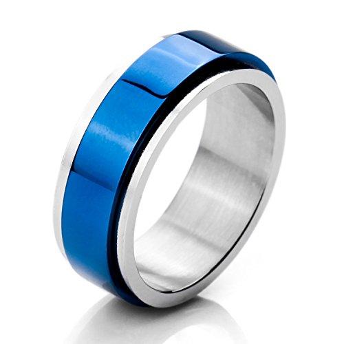 MunkiMix Ancho 8mm Acero Inoxidable Anillo Ring Banda Venda El Tono De Plata Azul Alianzas Boda Talla Tamaño 12 Hombre