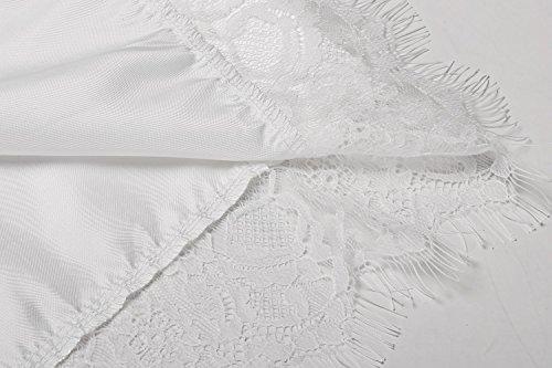 Aimado Damen Loser 3/4 Ärmel Spitze Trimm Kimono Stil Kurze Satin Robe Bademantel Weiß