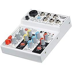 Mélangeur de puissance Table de mixage professionnelle 4 canaux Ligne de mixage audio Table de mixage de signaux Prise en charge de petits mixeurs USB / Carte SD Mélangeur d'interface USB avec carte s