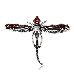 Cdet 1Pcs Bunt Insect Form Dragonfly Brosche Weihnachten Legierung Deko Frauen Brosche/Herren Brosche Anzug Brooch/Hochzeit Dekoration/Geburtstags Geschenk Pin,6.3 * 4.7cm,Rot