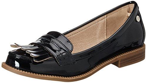 Xti black mirror pu ladies shoes ., mocassins...
