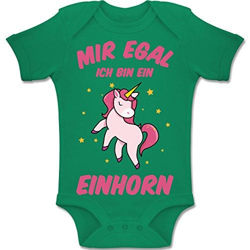Shirtracer Sprüche Baby - Mir egal ich Bin EIN Einhorn - 3/6 Monate - Grün - BZ10 - Baby Body Kurzarm für Jungen und Mädchen