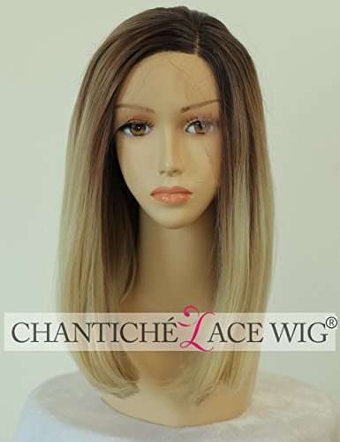 Chantiche Ombre Blonde Short Bob Synthetic Hair Lace Front Wig for Girls Natural Looking Brown Roots Side Part High Quality Hair Heat Resistant Fiber 12 (Flat Top Perücke)