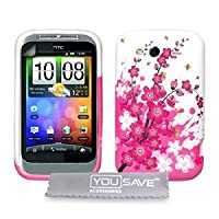 Pink And White Floral Bee Silicone Gel Case For The HTC Wildfire S With Screen Protector