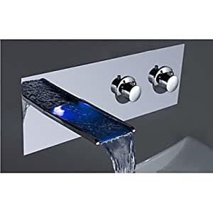 HJZ charmingwater chrom moderne LED-Farbwechsler, Wandhalterung) Wasserfall Waschbecken Wasserhahn