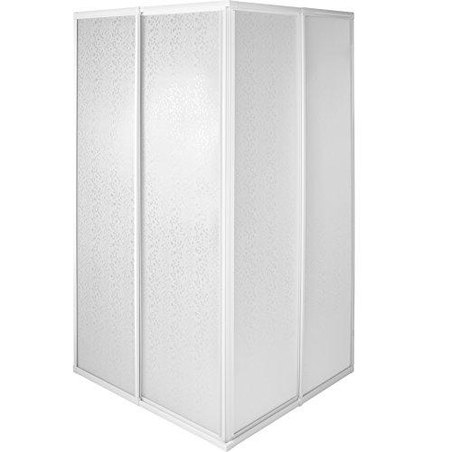 TecTake Duschkabine Duschabtrennung Eckeinstieg | Rostfreier Aluminiumrahmen | 2 Schiebetüren aus Kunststoff - verschiedene Größen (80x90x185cm | Nr. 402754) -