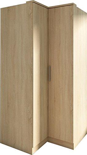 Trasman 1031roble Eck-Kleiderschrank 2 Türen, melaminharzbeschichtete Holzspanplatten, bardolino eiche, 91 x 90 x 202 cm