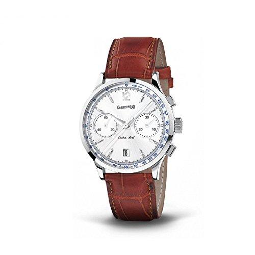 Clock Eberhard Extra Fort 31952Breaker quandrante Steel White Leather Strap