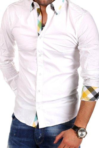 MT Styles Hemd Slim Fit Kontrast BH-303 Weiß