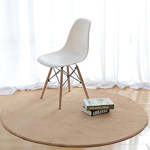 Round Solid Short Velvet Carpet Living Room Bedroom Soft Shag Area Rug-MAXYOYO Round Floor Mat Yoga Mat, Ultra Soft Non-Slip Back Floor Mat, Diameter 31.5 inch