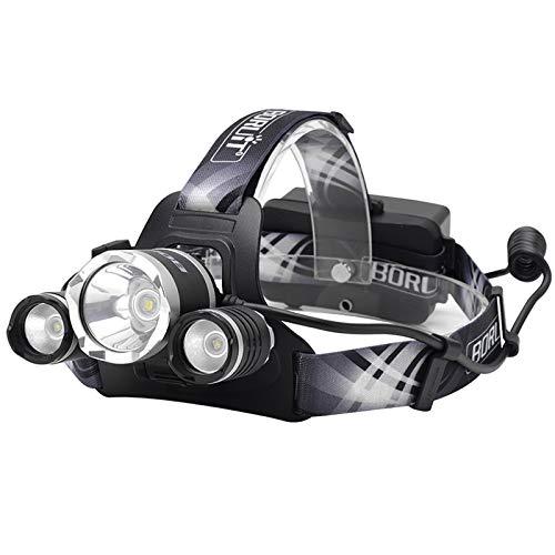 HUANGLP Lampes frontales focalisation LED,SOS Torches frontales Aide Coup de sifflet éblouissement Coup Long 500 m étanche Charge de pêche pêche USB Camping Lampe de Recherche