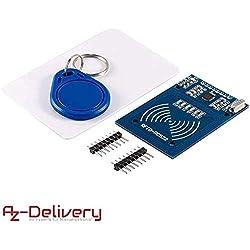 AZDelivery Kit RFID RC522 Lecteur, Puce et Carte pour Arduino et Raspberry Pi y compris un eBook
