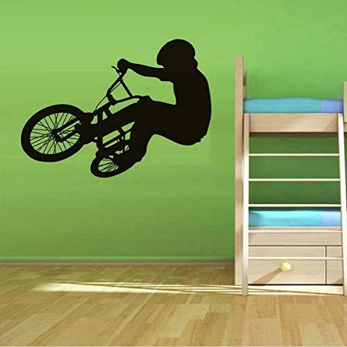 Mrhxly Bike Reader Silhouette Wandaufkleber Frische Modellierung Bike Wall Art Pvc Tapete Für Kinderzimmer Wohnkultur 80 * 58 Cm