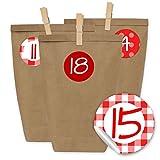 Papierdrachen 24 Adventskalender Tüten mit 24 Aufkleber Zahlen und Klammern - zum selber Basteln - DIY Set Adventskalender zum Befüllen - Design Nr 20