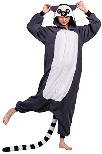 Pyjama Tier Cosplay Ring-Tailed Lemur Cartoonstil Animal Kigurumi Plüsch für Erwachsene Unisex